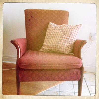 This comfy chair gives the feeling of being in a country cottage kitchen.