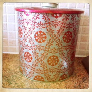 This original, retro, Christmas-patterned biscuit tin is the perfect size for a bread bin.