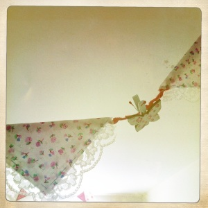 Pretty wooden butterfly pegs pegged on to this bunting add a delicate touch.