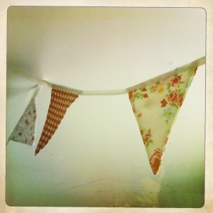 Bunting gives a real vintage feel to a room and is really quick and easy to make - you don't need a sewing machine, although it will make the process a lot quicker.