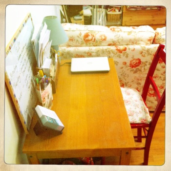 This old dining table makes a perfect desk.