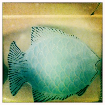 This quirky blue fish dish makes an unusual soap dish.