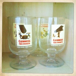 Quirky Guinness glasses liven up any drink.