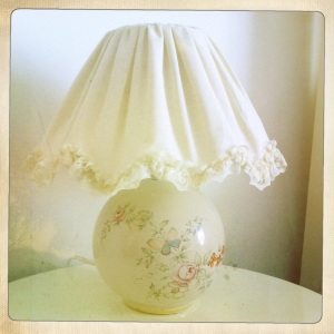 Look out for separate lamp bases and shades in Charity shops and at Vintage fairs which you can later combine and swap around to suit different rooms.