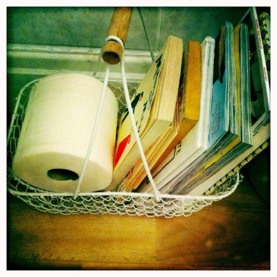 Bathroom literature: a range of modern and vintage books coupled with current clothes catalogues