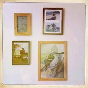 Collect pictures from different places and display them together to create an overall feel.